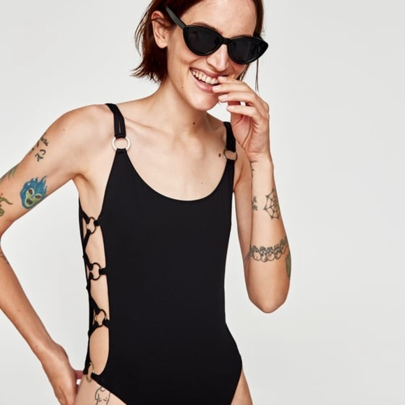 8c1f1c34c5a Zara Swim | Nwt Black Side Ring One Piece Bathing Suit | Poshmark